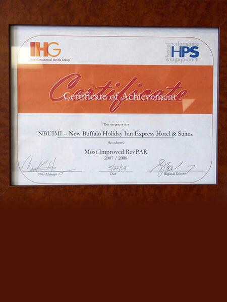 2007-2008 IHG Certificate of Acheivement Holiday Inn Express New Buffalo