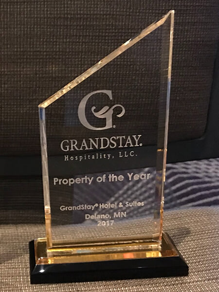 2017 GrandStay Delano, MN Property of the Year Award