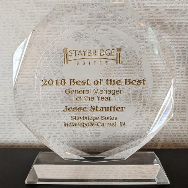 Staybridge Suites Carmel 2018 GM of the Year Jesse Stauffer